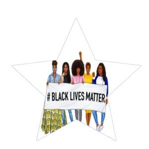Black Lives Matter Stickers BLM Star Labels  2 3/8